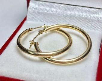 VINTAGE HOOP EARRINGS l 14KT Yellow Gold Earrings l Gold Hoops
