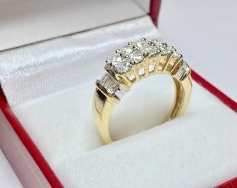 Vintage 1950's 1.00CT Diamond Ring l 14KT Yellow Gold Diamond Ring l Multistone Ring l Vintage Diamond Ring