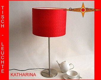 Red table lamp KATHARINA silk jacquard red table light