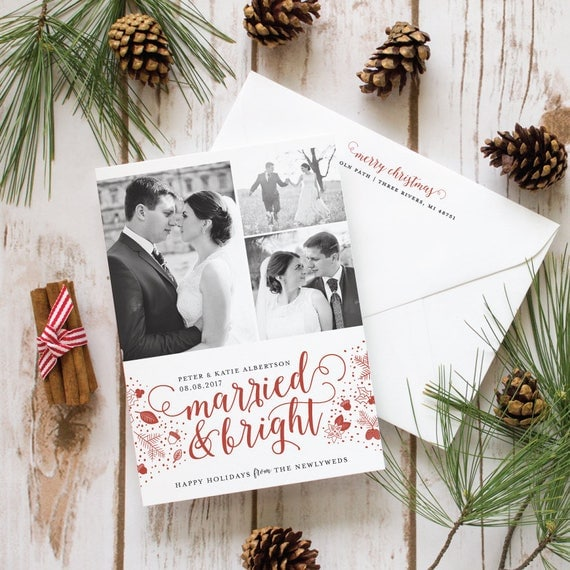 Newlywed Christmas Card, Marriage Announcement Holiday Card, First Christmas Photo Holiday Card, Multi Photo |  Just Married and Bright