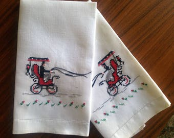 Pair of  Cross Stitched and Embroidered Guest Towels