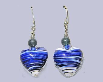 Lapis Bead & Blue Lampworked Glass Heart Dangle Earrings