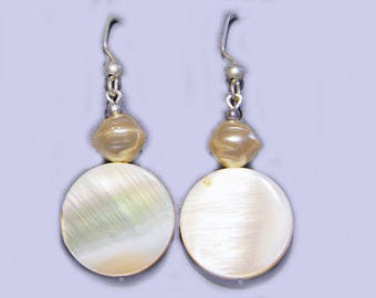 Glass Pearl & Shell Tablet Bead Dangle Earrings
