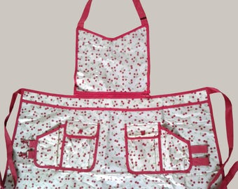 Plastic  Aprons For Women Cleaning, Cooking, Crafting, Beauty Salon/ Red and Beige/ Cherry Print