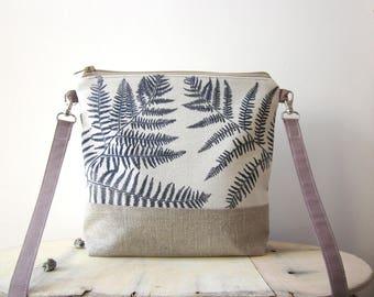 Ferns Crossbody bag, hand stamped bag, handprinted linen bag, linen bag, Ferns stamped bag, vegan bag