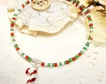 Memory Wire Bracelet, Christmas Bracelet, Beaded Bracelet, Women's Jewelry, Handmade, Beaded Jewelry, Stocking Stuffer