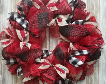 Flannel and vintage truck wreath