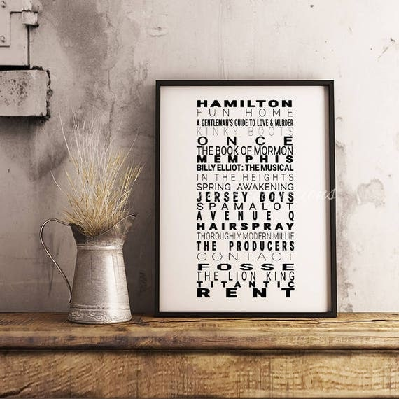 Broadway Best Musical Tony Award Winner Digital Art Typography Print Multiple Sizes