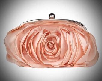 Princess Yolonda/Ultimate Luxury Pink Rose Silk Clutch/Wedding Bride Bridal Accessory/Gift For Her/Evening Purse Fashion Accessory Women