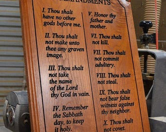 The Ten Commandments  Carved into Hardwood Free Shipping to U.S. !