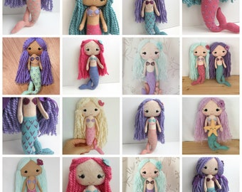 CUSTOM Felt Mermaid Doll made with Wool Blend Felt, Stuffed with Wool