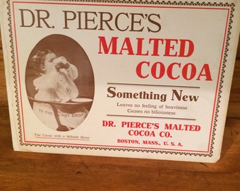 1910 Dr Pierces Malted cocoa cardboard advertising sign