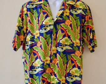 1990's Vintage Reyn Spooner for Starbucks Doonesbury Hawaiian Shirt - Catch The Foam - 100% Rayon Mens Large Vibrant Blue!