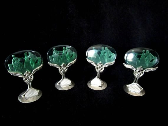 Antique Intaglio Place Card Holders, Set of 4, Art Deco, Czechoslovakia Czech Crystal, Green, Elegant Fine Dining