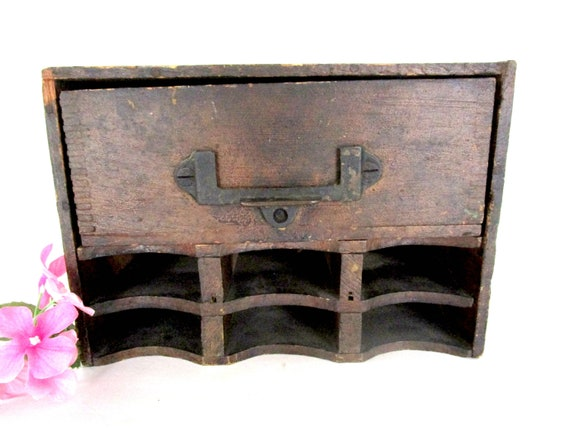 Antique Desk Organizer, Roll Top Desk Insert, Tongue and Groove Construction, Versatile Office Storage Unit