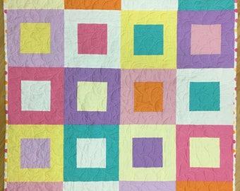 Modern baby girl quilt, wheelchair quilt, handmade baby quilt, made in Canada, #158