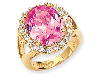 Jackie Kennedy Pink Kunzite Ring, Simulated Stone, Box and Certificate