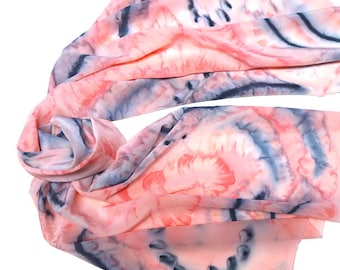Pink Quartz Hand Painted Silk Wrap Shawl, Grays Charcoal Black Accents, Pure Silk Crepe, One of a Kind, Jossiani.