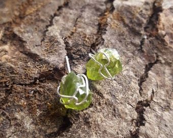 Peridot with sterling silver wire wrap nugget studs