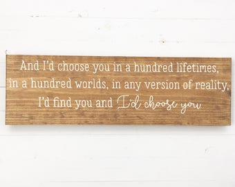 I'd Choose You Sign | hand painted wood sign | gallery wall | custom wood sign | wood sign | fixer upper style sign | over the bed sign