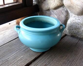 Roseville Pottery Jardiniere, Antique Pottery, Arts & Crafts, Bungalow Style, Matte Turquoise, Vintage 1920s