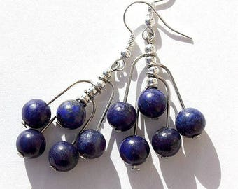"Earrings cluster beads of lapis lazuli on buckles: ""Night"""