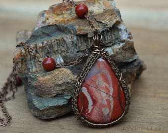 Red River Jasper Wire Wrapped Pendant in brass with Copper Chain