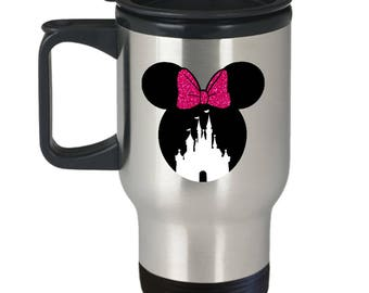 Magic Castle Mouse Travel Mug Gift Pink Bow Love Fan Fanatic Magical Coffee Cup