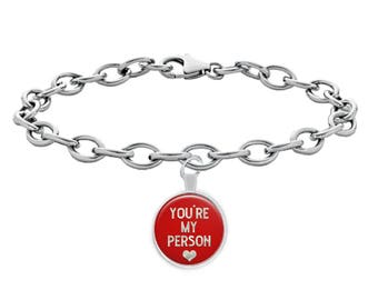 You're My Person Heart Bracelet Gift for Wife Girlfriend Best Friend Love Pendant Jewelry (Choice of Metal)