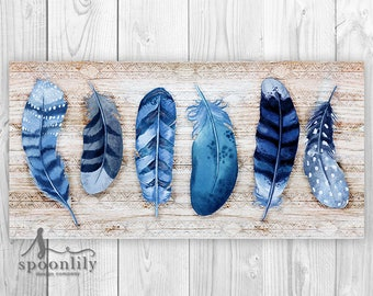 BOHO Decor, FEATHER Wall Art, Bohemian Decor, Boho Home Decor, TRIBAL Feather Art, Boho Tribal Art, Tribal Decor, Blue Feather, Indigo Decor