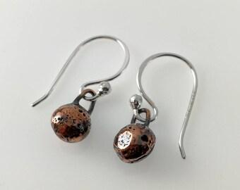 Copper Anchor Earrings   Copper Drop Earrings   Rustic Copper Earrings   Copper Nugget Earrings   Dangle Earrings   Sterling Silver Hooks