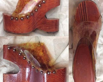 Kimel Sobo Platform shoes 6, INCREDIBLE vintage 60s 70s solid wood