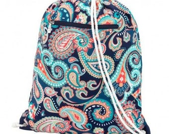 Girls Blue Paisley Drawstring Gym Bag