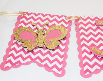 Glitter Butterfly Party Banner - Personalized Banner - Baby Banner - Baby Shower - Party Decor - Nursery Decoration - Pink and Gold Glitter