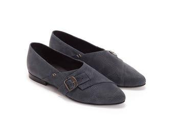 Spring Flats , Womens Shoe , Leather shoes, Buckle Closure, Monk Shoe , Handmade Shoe, Blue shoes,Snake leather, Grey shoes, Buckle shoes