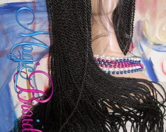 "Fully Braided Lace with Senegalese twists 1/30 20 to 30"" CIARRA long baby hair"