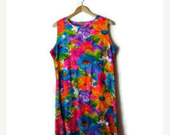 ON SALE Vintage Colorful Floral Printed Sleeveless Long Dress / Maxi Dress from 70's*