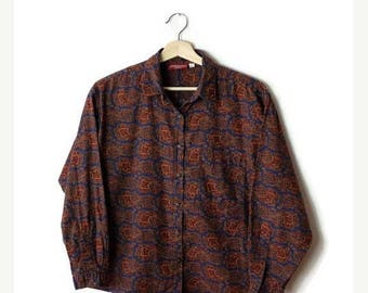 ON SALE Vintage Brown/Navy Paisley Printed Cotton Long Sleeve Blouse from 80's*