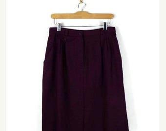 ON SALE Vintage High Waist Reddish Purple Pencil Midi skirt from 80's/W28*