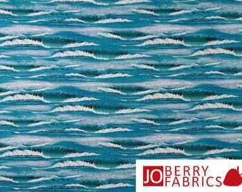 Landscape Medley Quilt or Craft Fabric by Elizabeth's Studio, Water, Waves Shades of Blue.