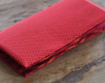 Jewelry pouch/wallet/clutch bag  in red Thai silk and red-orange print cotton-linen (JP0001)