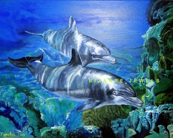 Copy Print NOT MOUNTED on Matte Canvas from my Original 24x18 Acrylic Painting Dolphins in Lagoon you choose Size