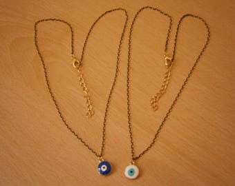 GREEK EVIL EYE gold black metal tone necklace Charm Nazar Turkish hamsa Judaica