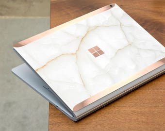 White Stone Marble and Rose Gold Edge Vinyl Skin for Microsoft Surface Book , Surface Laptop , Surface Pro 2017  - Platinum Edition