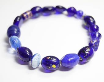 Braclet Glassbeads Unique blue