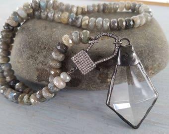Labradorite Pendant Necklace Pave Clasp Soldered Crystal Pendant Bohemian Gemstone Necklace by LizzieTishBoutique