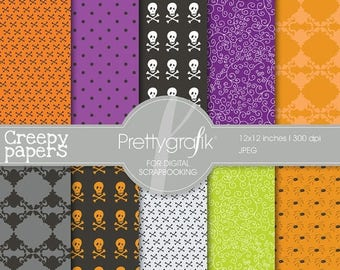 80% OFF SALE Halloween digital papers scrapbook set - PGPSPK552