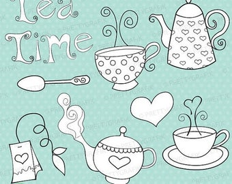 80% OFF SALE tea set digital stamp commercial use, vector graphics, digital stamp, digital images - DS302