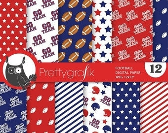 80% OFF SALE Football digital paper, commercial use, scrapbook papers, background chevron, stripes, sports, team - PS736