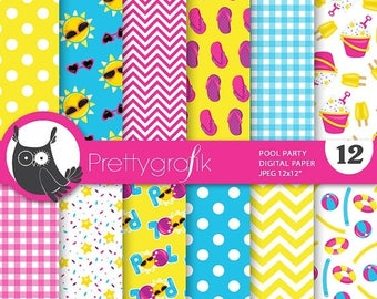 80% OFF SALE Pool party digital paper, commercial use, scrapbook papers, background - PS717